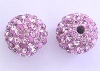 5 Shamballa beads 8mm Round Rhinestones -  Light Rose
